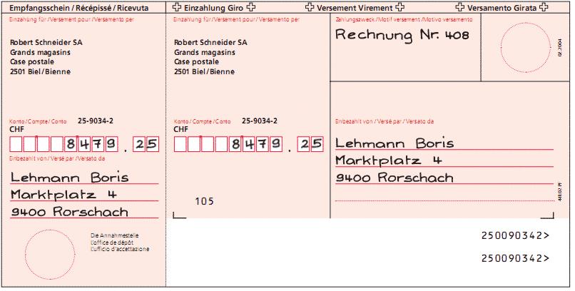 Roter Einzahlungsschein