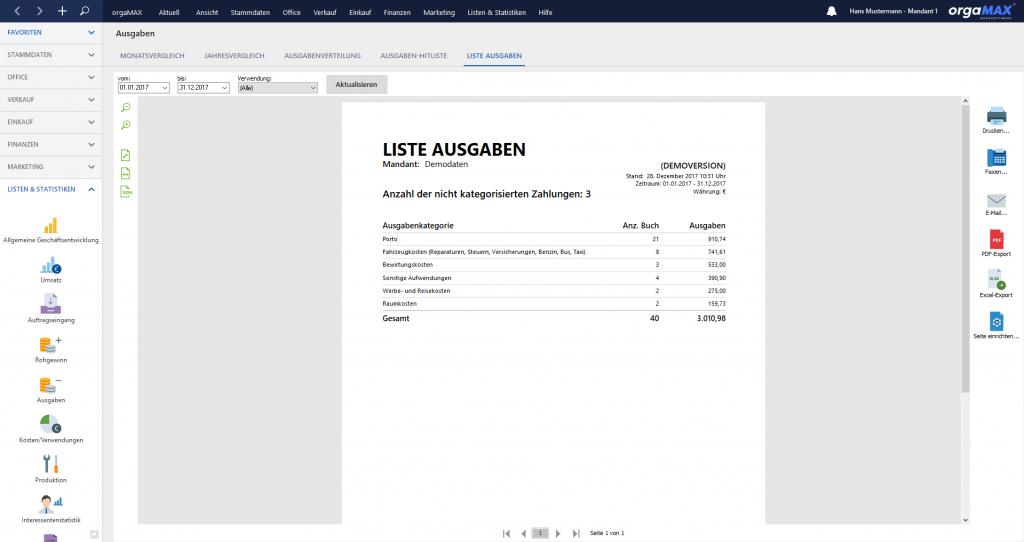 orgaMAX Ausgabenüberwachung Liste Ausgaben