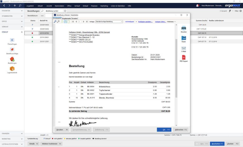 orgaMAX Bestellvorschläge Bestellung erfassen