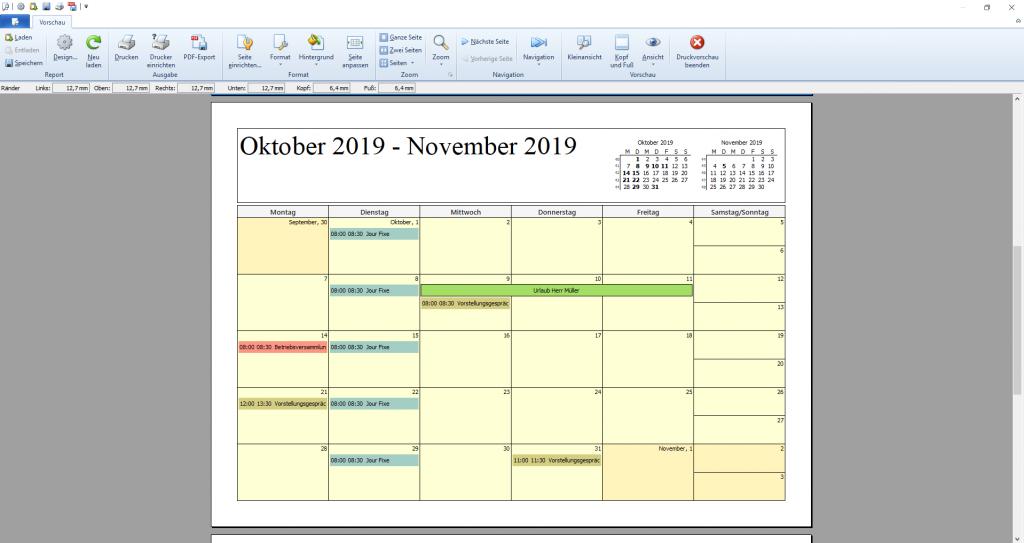 orgaMAX Kalender Druckvorschau