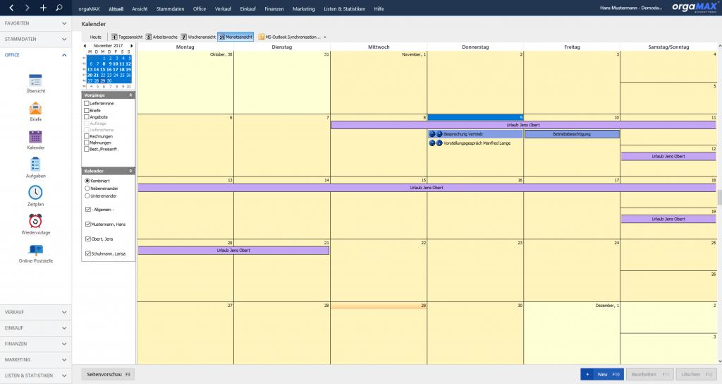 orgaMAX Kalender Monatsansicht