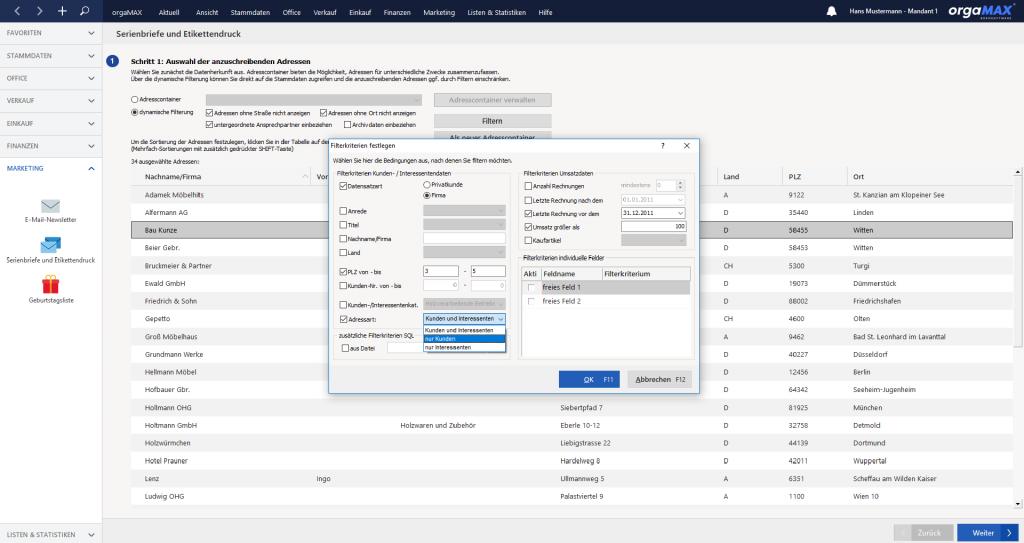 orgaMAX Serienbrief Filter auswählen