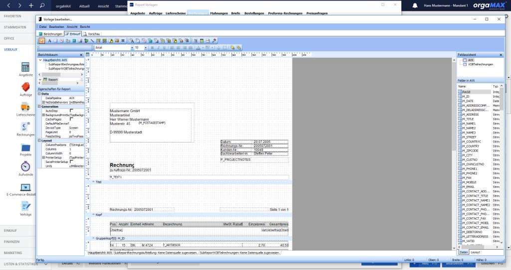 orgaMAX Vorlagendesigner vorlagen Bearbeiten