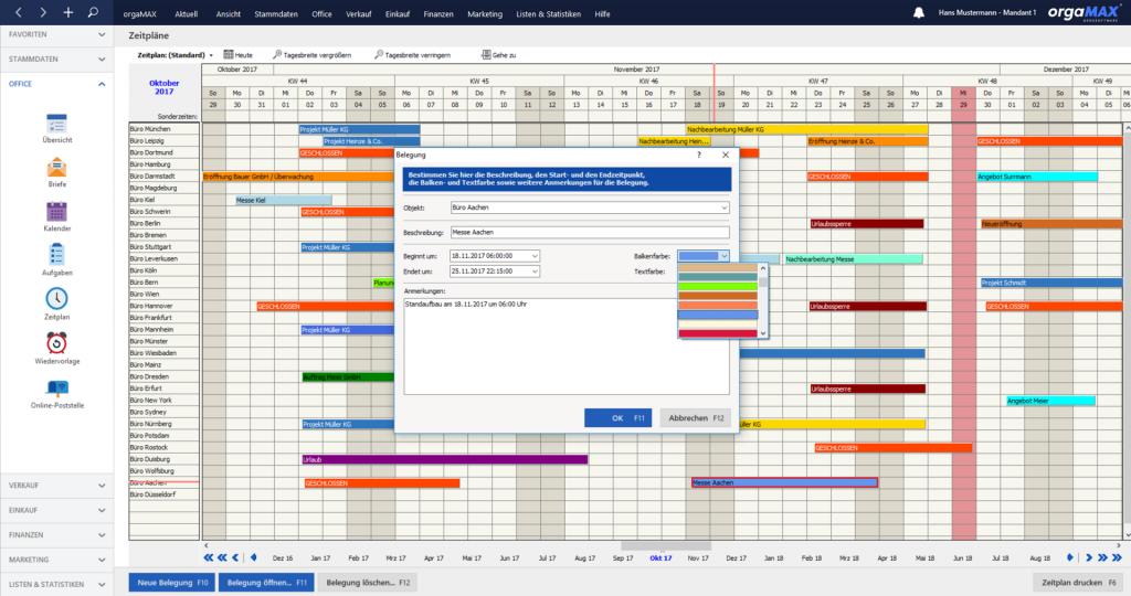 orgaMAX Zeitplan Belegung Bearbeiten
